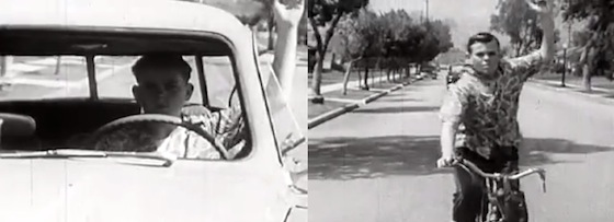 "Colagem do vídeo ""Drive your bicycle"" de 1954"