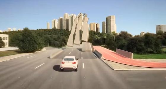 O concreto abre espaço e ao lado, a pista para bicicletas