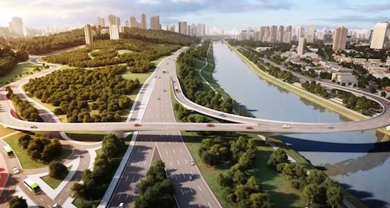O rio limpo, o verde e interligando a cidade a ponte
