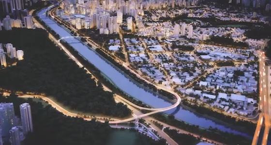 Mais de longe a cidade circula por luzes.