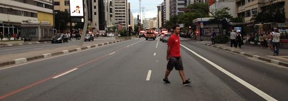 Avenida Paulista, livre durante o  6° Ato contra a Tarifa - 29/01/15