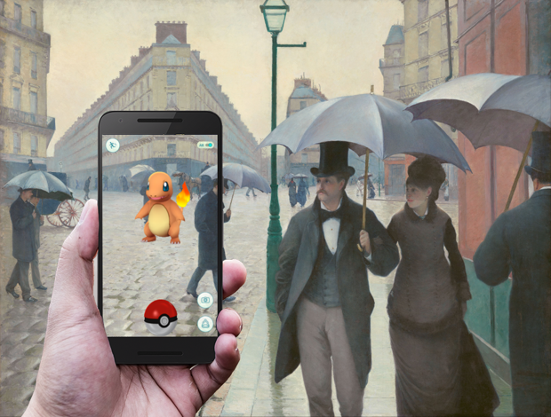 "Pokémon Go/Gustave Caillebotte, ""Paris Street, Rainy Day,"" 1877"